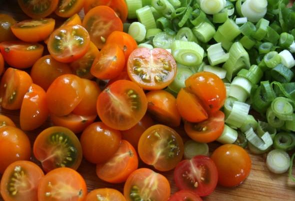 cherry tomatoes and scallions