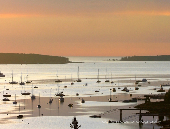 A hazy August sunrise morning in Southwest Harbor Maine