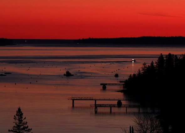 Lobsterman heading out to work pre-sunrise
